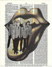 Art N Words Rolling Stones Gold Lips Original Dictionary Wall or Desk Print