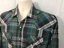 EUC! ELY Cattlemen Mens Western Shirt Green Plaid Pearl Snaps Large Long Sleeve