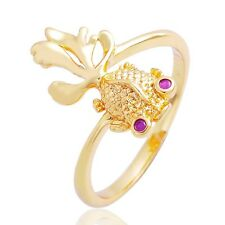 Very Cute Fashion Goldfish Ring Red Ruby EYE  For Womens Christmas gold Size 8
