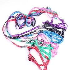 """Small Dog Pet Puppy Cat Adjustable Nylon Harness with Lead leash Traction rope""""G"""