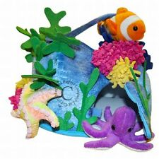 Plüsch-Riff + 4 Fingerpuppen Delfin, Clownfisch, Seestern und Krake