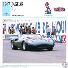 JAGUAR XJ13 1967 CAR VOITURE GREAT BRITAIN GRANDE BRETAGNE CARTE CARD FICHE