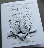 Large Personalised Handmade CHAMPAGNE GLASSES Wedding or Anniversary Card