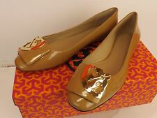 NIB TORY BURCH SAND PATENT LEATHER SQUARE TOE GOLD REVA  FLATS 7.5