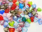 Mixed Lampwork Glass Color-Lined Foil Heart Beads Jewellery Craft - 13mm ML