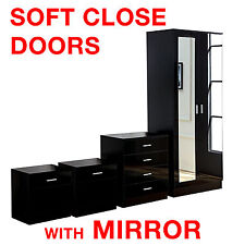 Mirrored Black High Gloss 4 Piece Bedroom Furniture Set - Wardrobe Chest Bedside