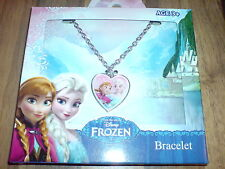 Disney Frozen Silver Chain Bracelet Heart Charm New In Box