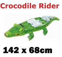 Inflatable Crocodile Rider Swimming Pool Float Lilo Beach Ride On Toy 142 x 68cm