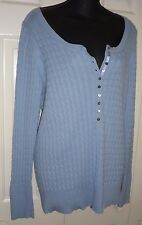 Womens  Blue Boat Neck EDDIE BAUER Button Deep V Stretchy Spring SWEATER L Large