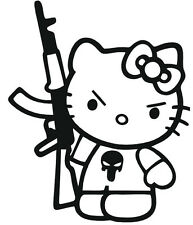 (Nr4) HELLO KITTY AK-47 VINYL DECAL STICKER LAPTOP WALL WINDOW CAR TRUCK