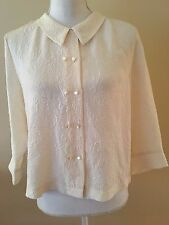 LL BEAN Womens Small S Ivory Paisley Embossed Silk Shirt Blouse Peter Pan Collar