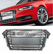 S4 Style Chrome Frame Gray Grille Mesh Ring Emblem for AUDI 2013 - 2016 A4 / B9