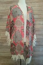 Daniel Rainn Sheer Boho Tunic Top Cover up Women 1x Plus Size open front fringe