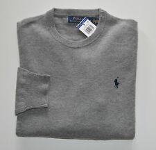 New Men's Polo Ralph Lauren 100% Wool Crewneck  Pullover Sweater Gray L, Large