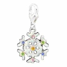 Silver Snowflake Christmas Clip On Charms Bead For Charm Bracelets