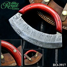 "4.5"" ROYAL HAND MADE DAMASCUS Mezzaluna  ULU KNIFE - HARD WOOD - RO-3917"