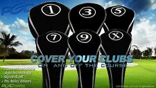 GOLF CLUB HEAD COVERS DRIVERS BLACK HEADCOVER FULL COMPLETE 1 3 5 7 9 X WOOD SET