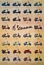 "VESPA 1946-69 POSTER 23""x34"" Scooter Piaggio Italy, Motorbike Classic Vintage"