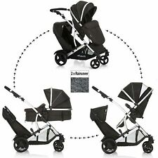 NEW HAUCK BLACK DUETT 2 DOUBLE TANDEM BABY PUSHCHAIR TWIN STROLLER & RAINCOVERS