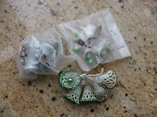 Vtg Christmas Bells Filigree Green Glitter Mercury Glass Clappers Sugar Crafts