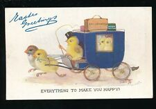 Greetings EASTER Chicks & Stagecoach Tuck Oilette #1644 early artist drawn PPC