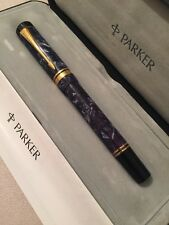 1989 PARKER DUOFOLD BLUE MARBLE GT MEDIUM NIB FOUNTAIN PEN-UK-BOXED-SUPERB