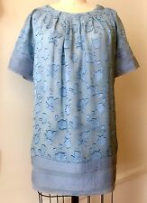 BCBG MAX AZRIA RUNWAY Sz 6 Blue Silk Blend Shirt Sleeve Casual Tunic Blouse