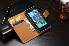 Genuine Real Leather Wallet stand case cover for Nokia Lumia 830 + Screen Guard