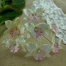 5 x LARGE ORCHIDS - IVORY & PINK  Mulberry Paper Flowers for Cardmaking & Crafts