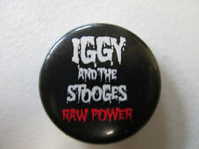 Vintage Iggy and the Stooges Raw Power pin back button black w/white+red letters