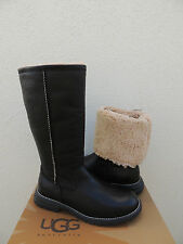 UGG BROOKS TALL BLACK LEATHER/ SHEARLING LINED WINTER BOOTS, US 9/ EUR 40 ~ NIB
