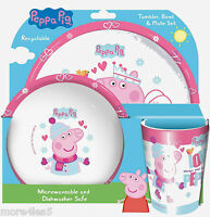 Peppa Pig Winter Children Kids Dinner Breakfast Tumbler, Bowl and Plate Set