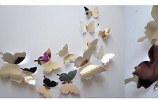 12pcs 3d miroir papillon art autocollant pvc wall sticker réfrigérateur autocollant