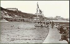 Scarborough Open Air Swimming Baths. The Water Chute. Superb Real Photo c1920's.
