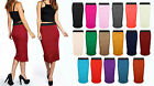 New Ladies Women Tube Elastic Stretch Bodycon Midi Plain Skirt Plus Size UK 8-22