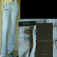 GUCCI New sz 4 - 40 Blue GG Logo Designer Womens Denim Authentic Pants Jeans