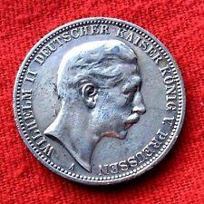 MONNAIE ARGENT 3 MARK 1909 A WILHELM II KAISER  PRUSSE ANCIENNE DE COLLECTION