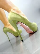 MORI ITALY PLATFORM HIGH HEEL PUMPS SCHUHE SHOES SUEDE LEATHER GREEN VERDE 43