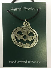 PUMPKIN PENDANT PEWTER HALLOWEEN STRING NEW NECKLACE HAND CRAFTED UK FINISH NEW