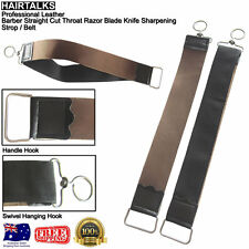 HAIRTALKS Leather Barber Cut Throat Razor Knife Sharpening Double Strop / Belt