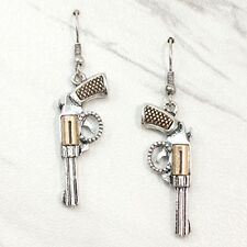 SILVER GOLD TONE WESTERN COWGIRL JEWELRY HAND GUN PISTOL SIX SHOOTER EARRINGS