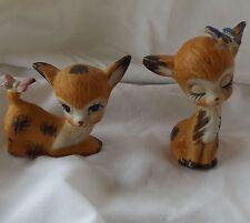 Deer Fawn Butterfly Playful Porcelain Figurine Pair Set 2 Vintage Taiwan