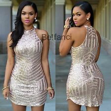 New Sexy Sparkling Gold Sequin Party Mini Dress Size 8 10 12 14 16 UK