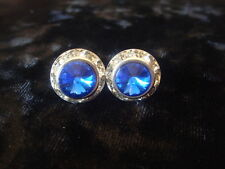 13mm Crystal Blue Rondel and Rivoli Button Earrings  (C-15)