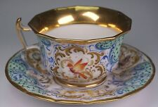 Gorgeous Antique Hand Painted London Shaped Cup and Saucer w/ Butterflies