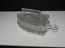 """EAPG Covered Box Iron with Diamond Pattern Footed Clear 8 3/4"""" L ca 1890's"""