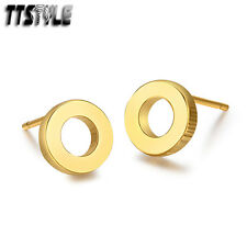 TTstyle Gold Stainless Steel Round Stud Earrings