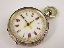 Hallmarked Swiss .935 Silver Fancy Applied Gold Dial Antique Pocket Watch LAYBY