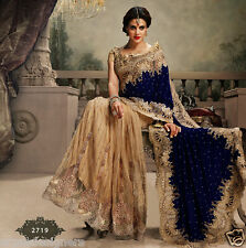 DESIGNER INDIAN WOMEN VELVET, NET SAREE BOLLYWOOD WEDDING BRIDAL HEAVY WORK SARI