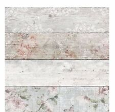 Wood Plank Wood Panel Effect Wallpaper Floral Vintage Country White Pink Grey
